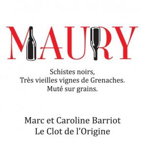 Le Maury rouge AOP - Clot de l'Origine - Marc et Caroline BARRIOT Maury